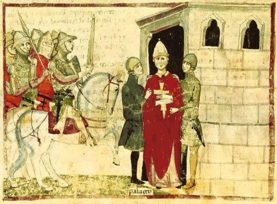 Bonifacio VIII tomado prisionero.miniatura della Nuova Cronica di Giovanni Villani