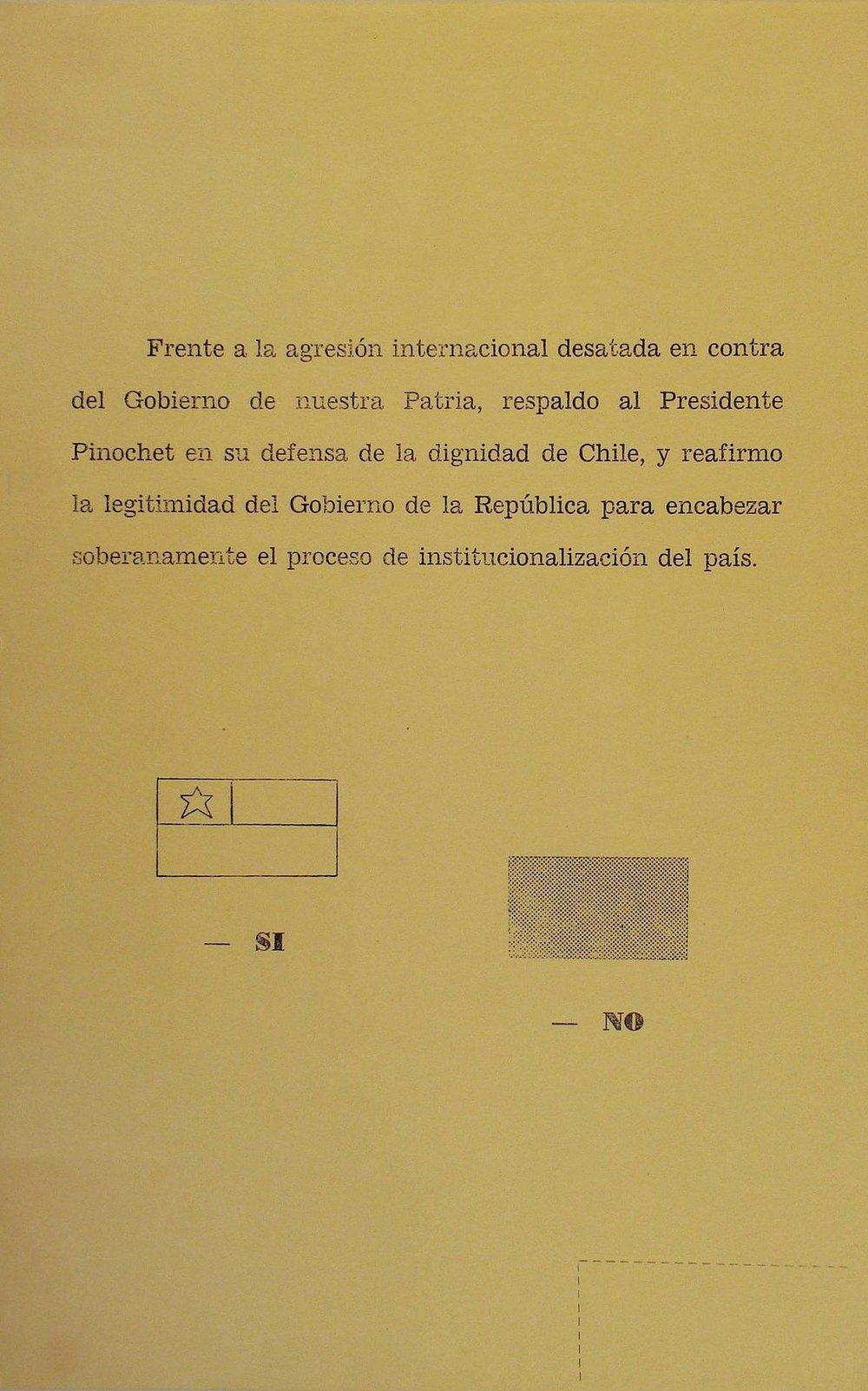 Consulta Nacional de 1978: fue un referéndum que sellevó a caboen Chile en 1978, durante el la dictadura cívico-militar para consultar a los ciudadanos si apoyaban o rechazaban a la legitimidad del gobierno. El si ganó con un 78,6%