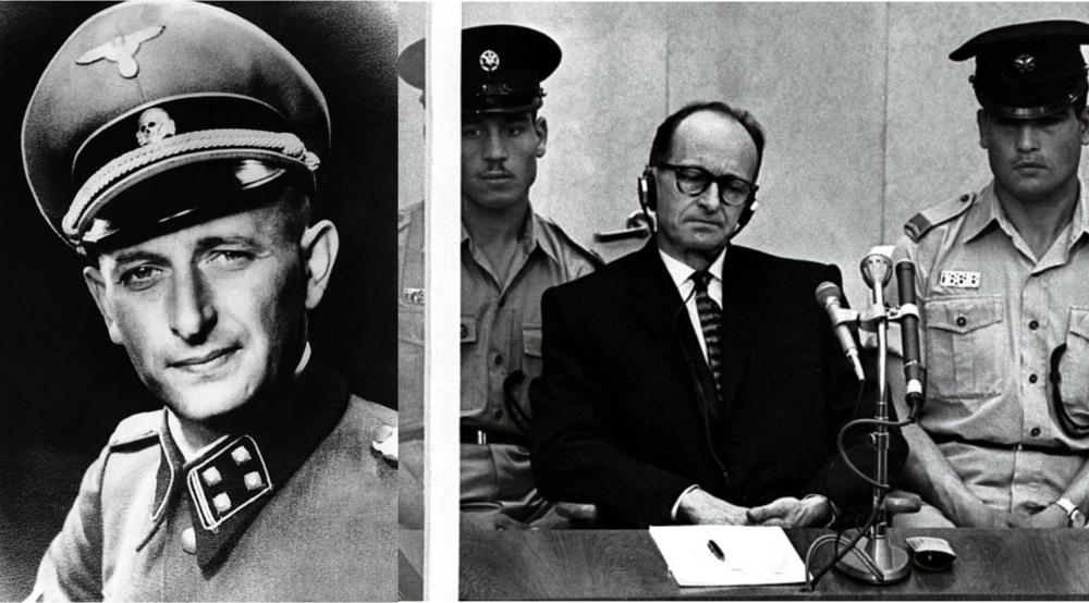 El burócrata Adolf Eichamnn fue secuestrado en Argentina por el servicio secreto de Israel y fue condenado a la horca en ese mismo país. Señaló que el sólo obedecía las reglas de la guerra y de su bandera, y que fue responsabilidad del gobierno la persecución de los judíos.