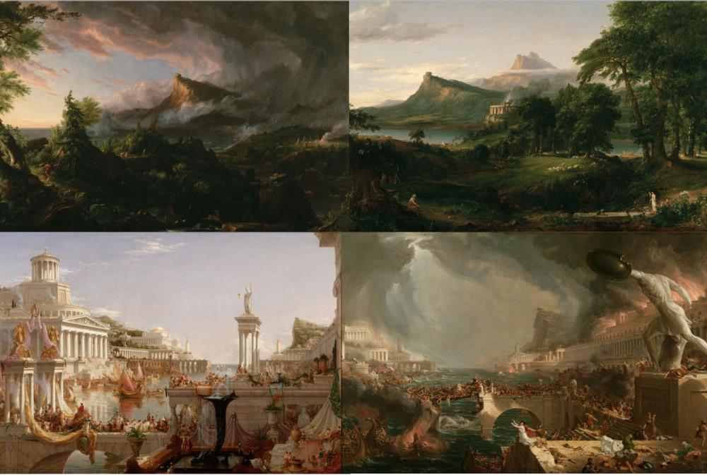 Thomas Cole también, por medio de la una seré de lienzosi, retrató como evolucionan las culturas hasta transformarse en avanzadas civilizaciones para luego entrar en decadencia