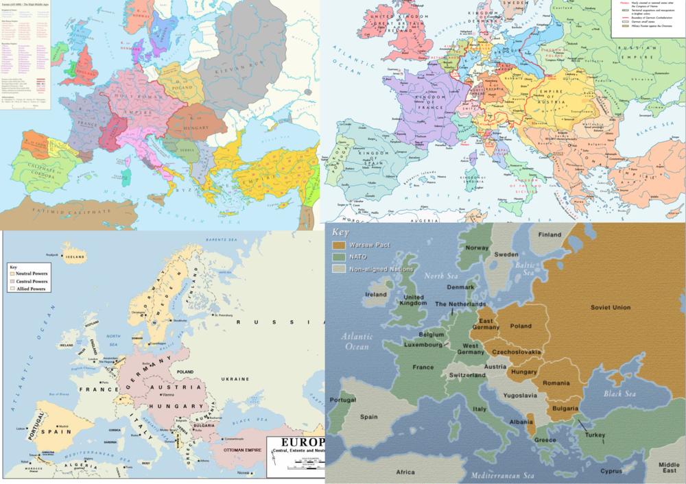 """Evolución geopolítica de Europa: Edad Media, """"Edad Moderna"""" (1800), 1914, 1945"""