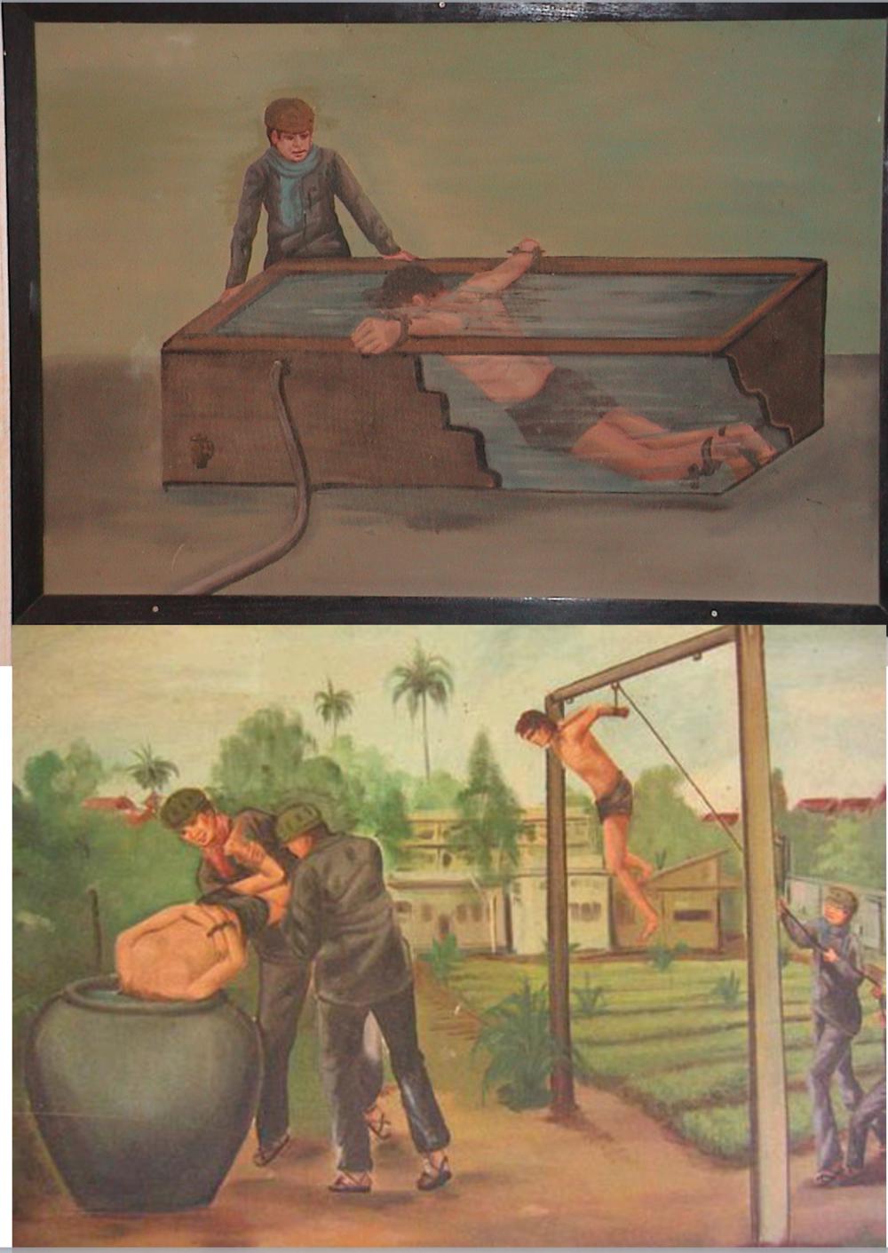 Torturas en Tuol Sleng. Pinturas de Van Nath, quien sobrevivió gracias a sus dotes artísticas, realizando retratos de Pol Pot