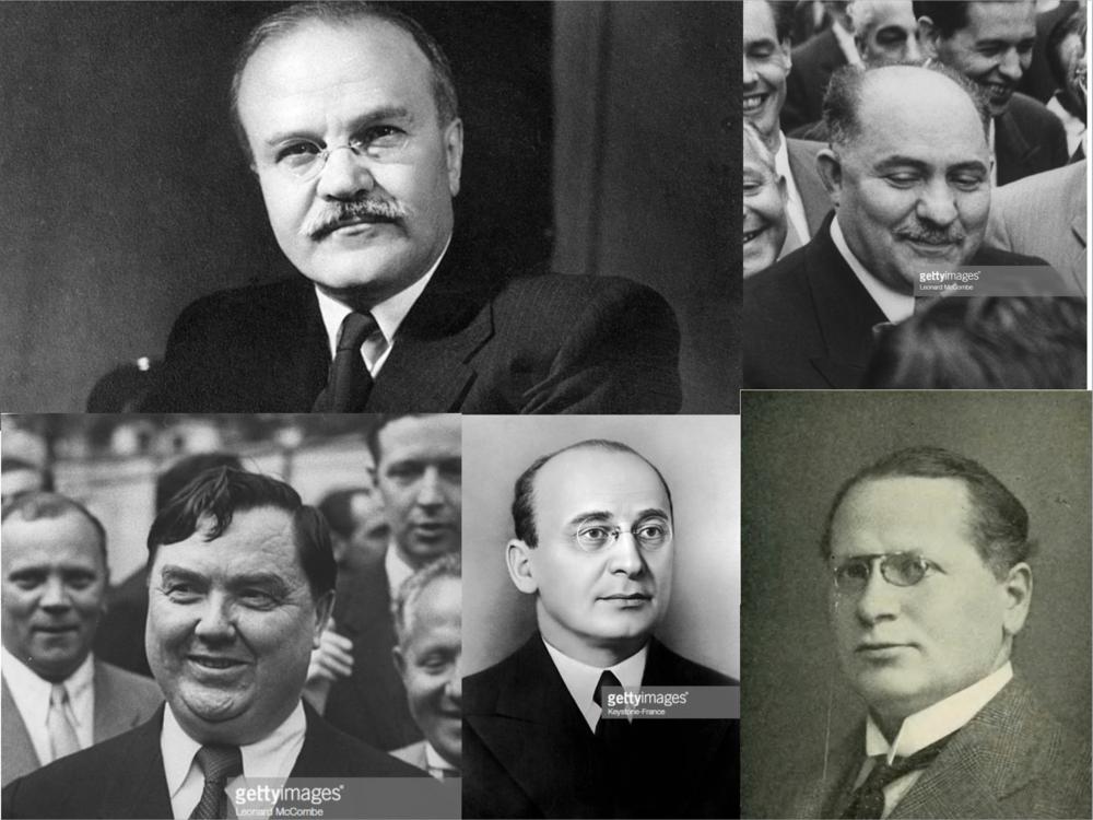 Molotov (parte superior izquierda), Kaganovich (parte superior derecha) Abajo, de izquierda a derecha: Malenkov Beria y Litvínov