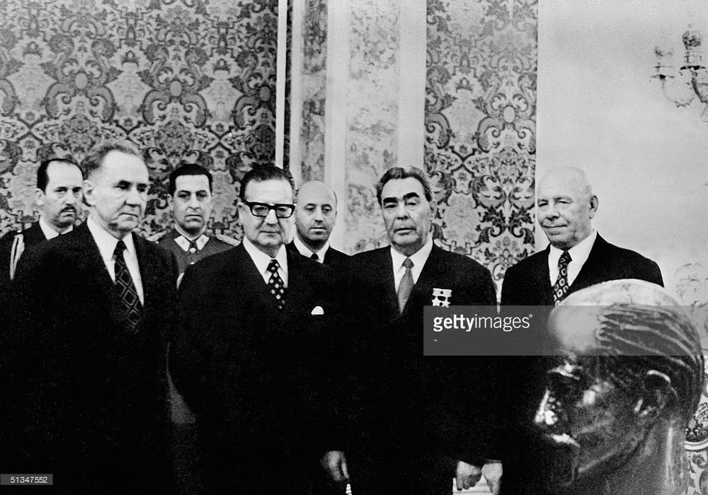 Allende en la URRS (1972) a la derecha Leonid Brézhnev