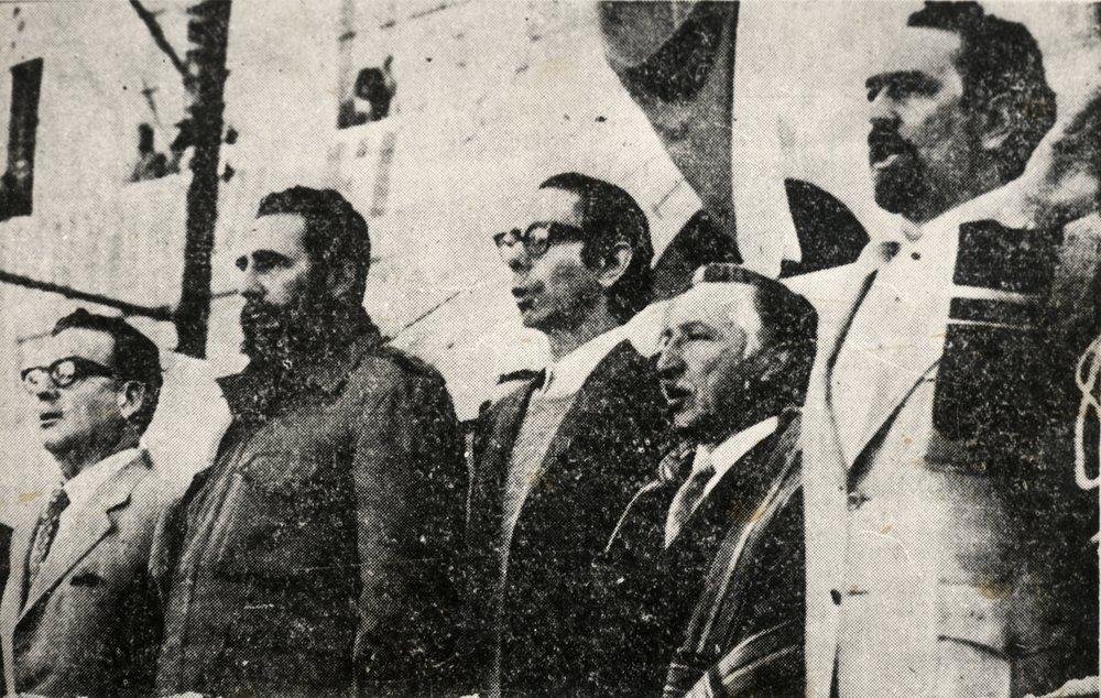 Salvador Allende, Fidel Castro, Carlos Altamirano (PS) y Luis Corvalán (PC)