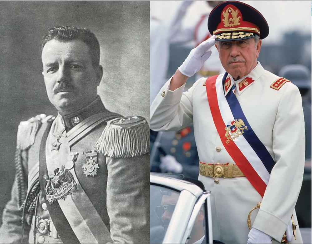 Carlos Ibáñez del Campo (primer gobierno 1927-1931) y Augusto Pinochet, y la evolución desde el una economía Estatista, desarrollaste y nacionalista, hacia una de libre mercado