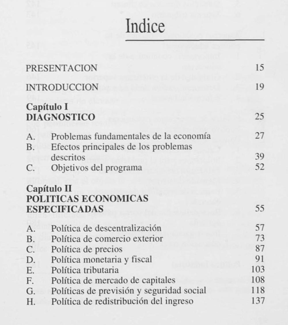 """Parte del índice de """"El Ladrillo"""""""