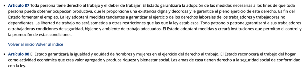 Constitución de la República Bolivariana de Venezuela. Capítulo V - De los Derechos Sociales y de las Familias. En América Latina es común la creencia de que la Constitución materializa en la realidad todo lo que se escribe en el papel.