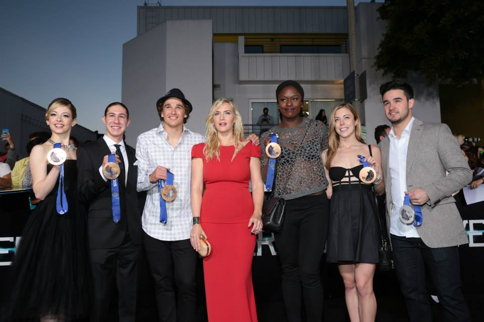 Athletes with Kate Winslet at the Divergent Hollywood Premiere