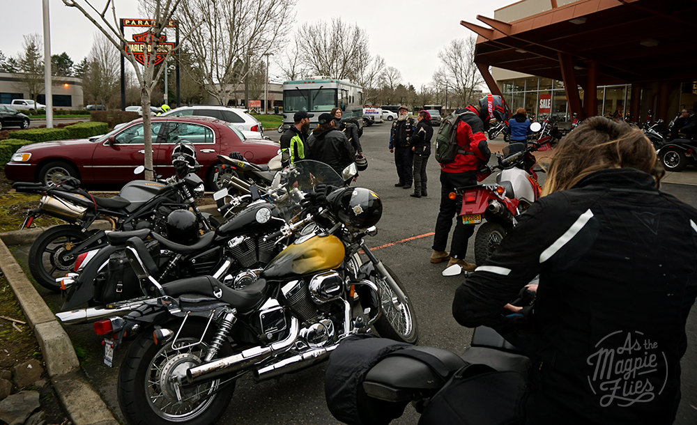 All arrived at the Paradise Harley Davidson in Tigard. Eventually..