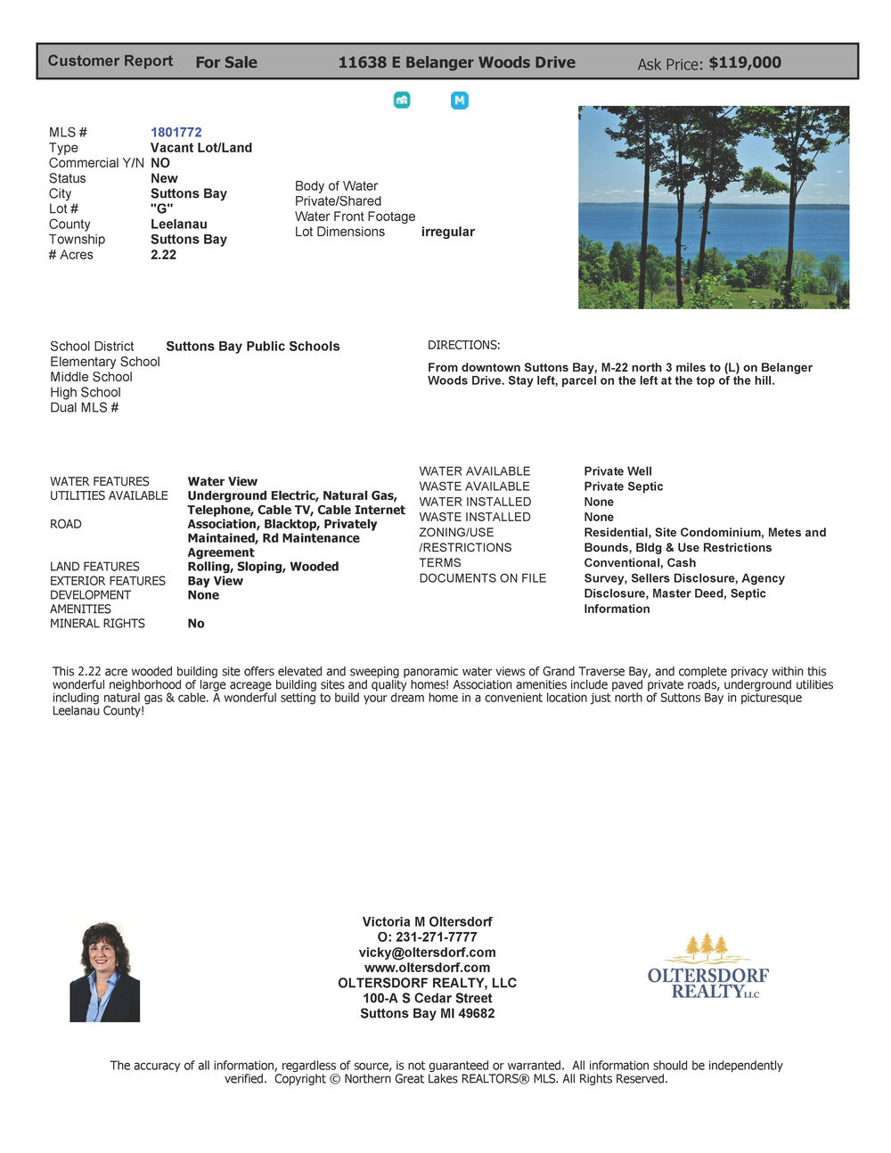 11638 E Belanger Woods Drive, Suttons Bay, MI, Leelanau County vacant land with water views of Grand traverse Bay, for sale by Oltersdorf Realty LLC, Leelanau County Realtors Vicky & Jonathan Oltersdorf marketing packe.jpg