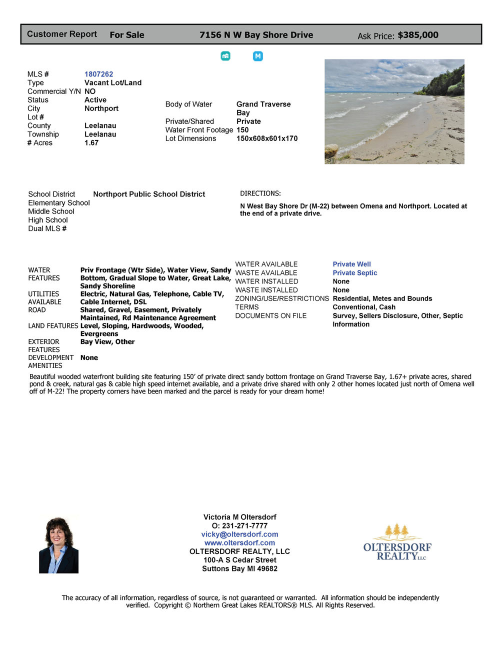 7156 N W Bay Shore Drive, Northport, MI Vacant waterfront lot for sale by Oltersdorf Realty LLC Marketing Packet (4).jpg