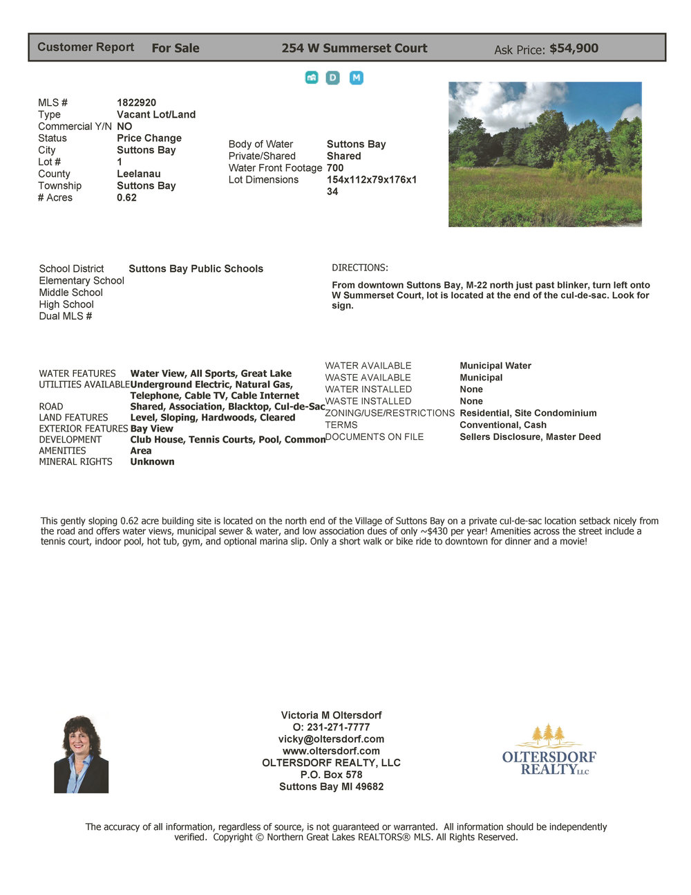 254 W Summerset Court, village of suttons bay vacant lot for sale by Oltersdorf Realty LLc, suttons bay and leelanau county realtors