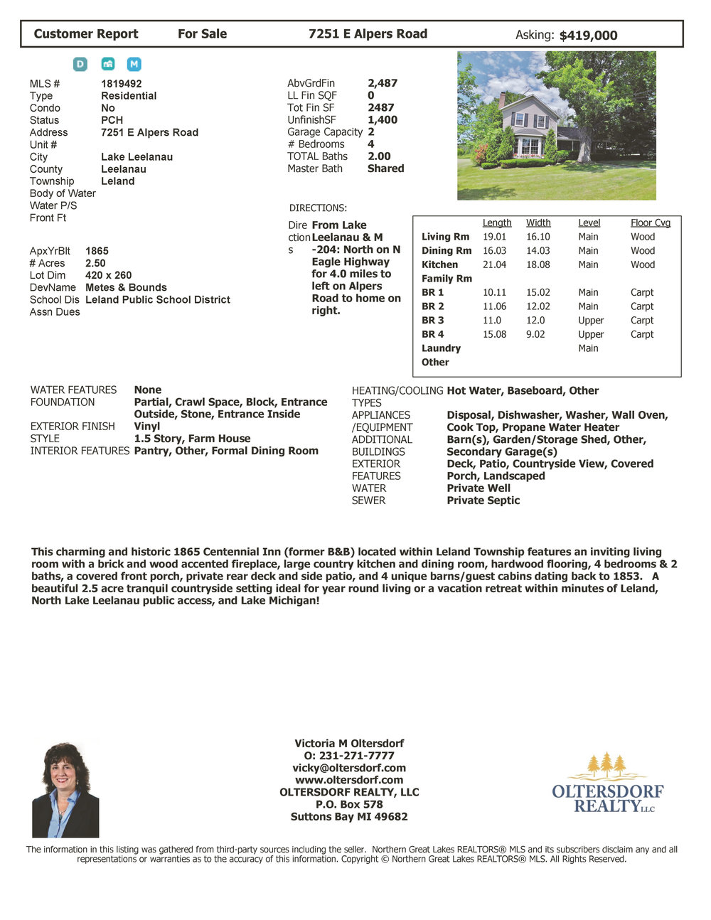 7251 E Alpers Road, Lake Leelanau, Leland township, House, for sale by Oltersdorf Realty - Price Reduction.jpg