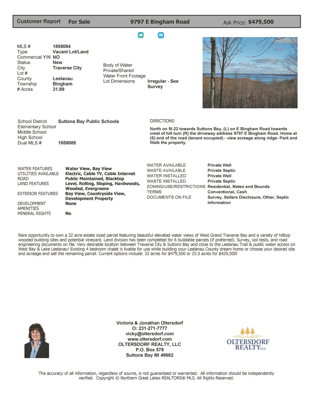 9797 E Bingham Road, Traverse City - Water View Vacant Land For Sale by Oltersdorf Realty 2019 (1).jpg