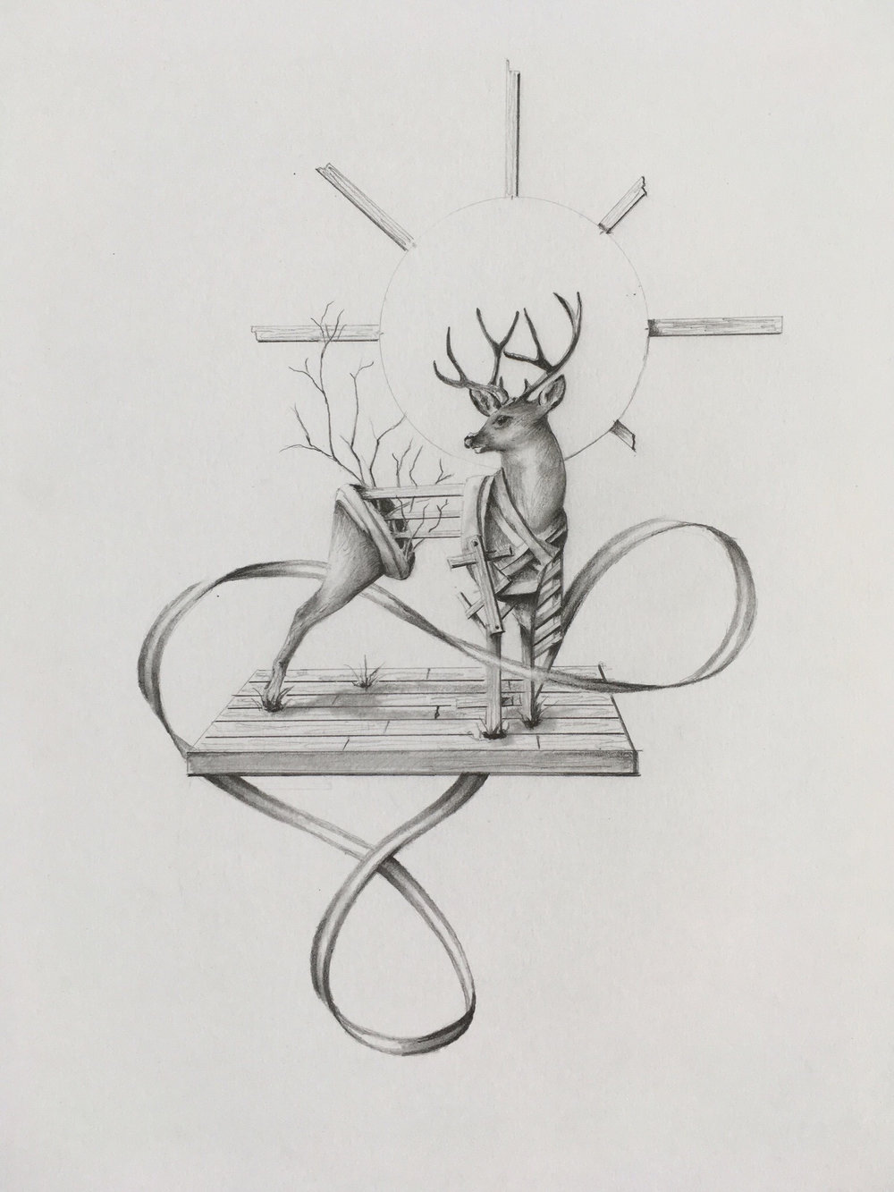 Stag  Graphite on Bristol 2018