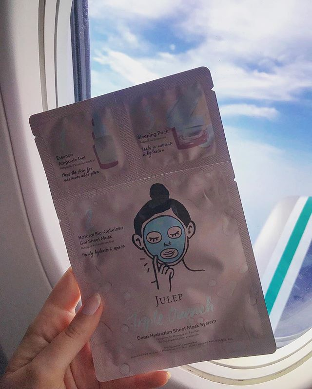 Since I learned how terrible airplane air is for your skin, I ALWAYS use a sheet mask mid-flight (despite the crazy looks other passengers give me 🤣). And it's no surprise my go-to is @JulepBeauty's #TripleQuench mask. Anyone else mask while up in the air? ✈️ #JourneyWithJulep