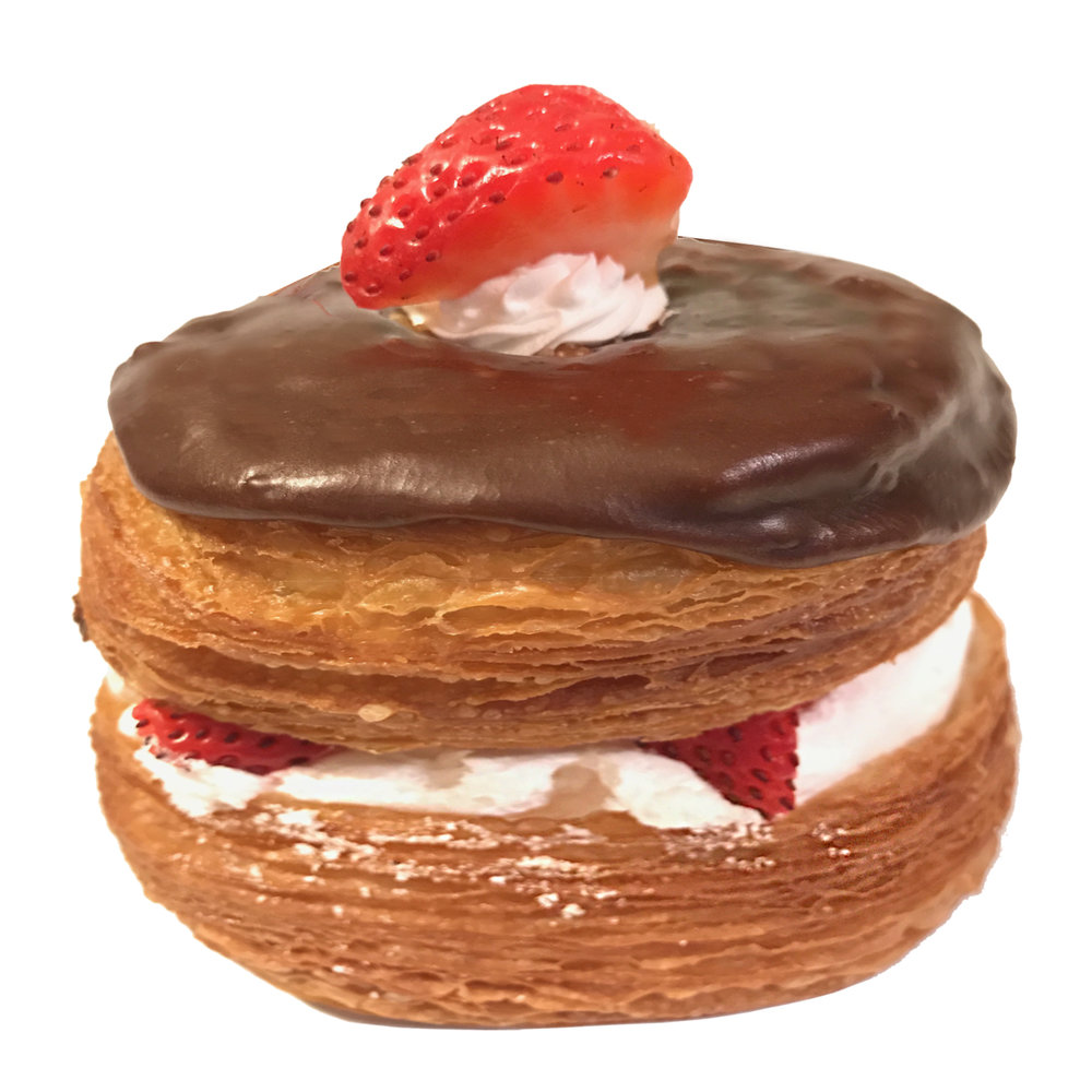 Croisant Donut Chocolate filled with Strawberries with Whipped Cream.jpg