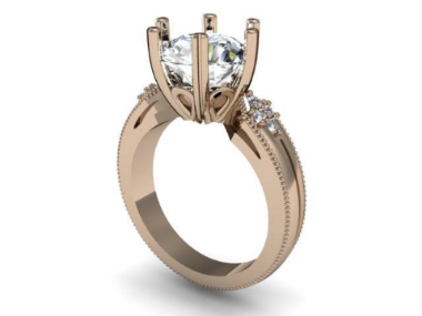 3D rendering of custom engagement ring done in CAD.