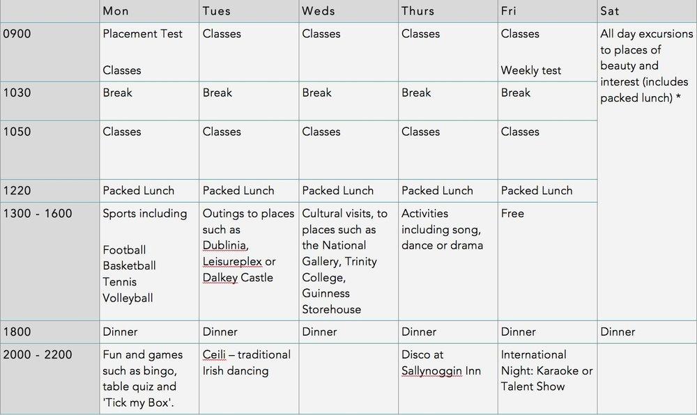 sample summer school timetable language and leisure