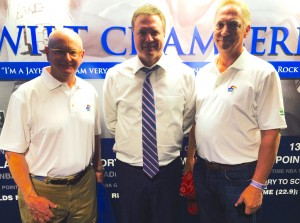 Coaching for Literacy's Honorary Guests: Andrew Sigler (left) and Dave Enenbach (right) with Head Coach Bill Self of the Kansas Jayhawks (center)