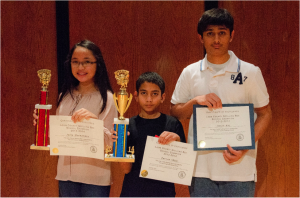 Winners: Alternate and 1st runner-up from Trinity Catholic Middle School Julia F., Winner from Conely Elementary School Farzan S., and 2nd runner-up from Fairview Middle School Aman R.