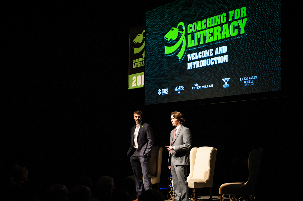 Coaching for Literacy Founders: Jonathan Wilfong (left) and Andrew Renshaw (right) speaking at Revitalizing Literacy Through Sports 2016 - A Conversation With Hugh Freeze