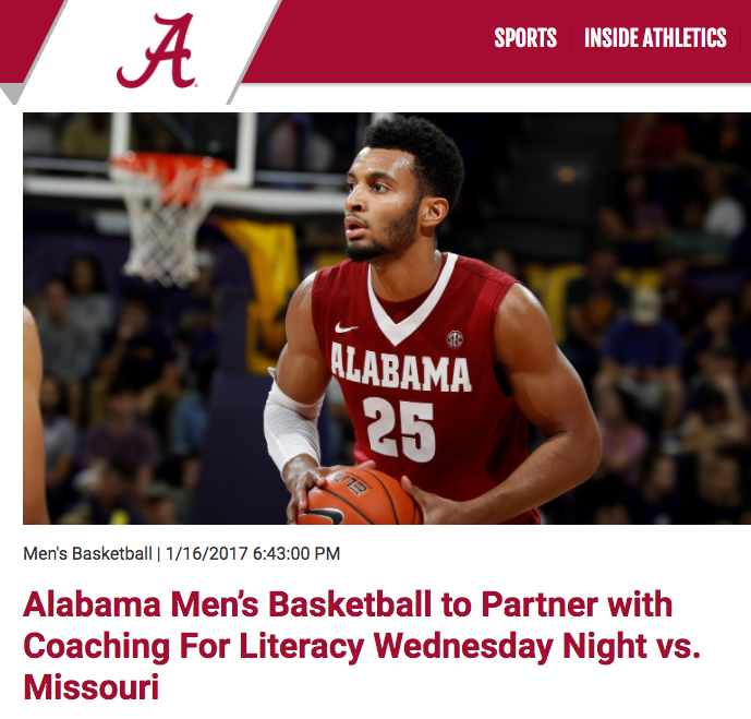 "<p>Alabama Basketball<a href=""http://www.rolltide.com/news/2017/1/16/alabama-mens-basketball-to-partner-with-coaching-for-literacy-wednesdays-night-vs-missouri.aspx/""<target""_blank"">☞</a></p>"