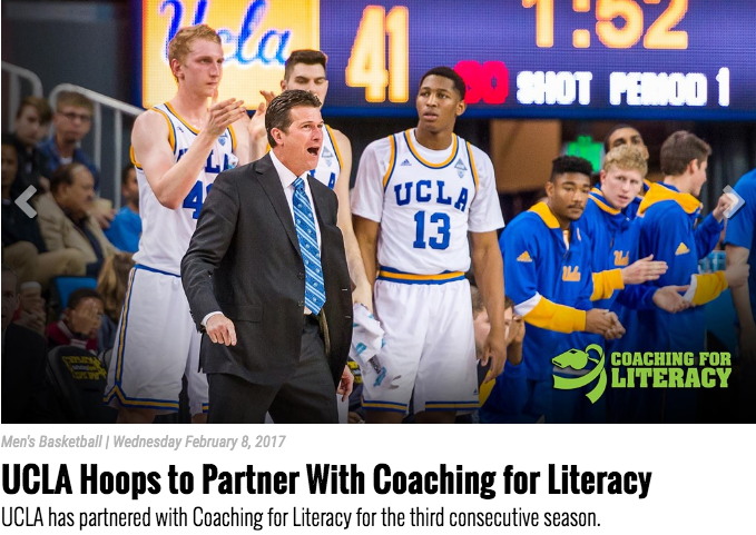"""<p>UCLA Basketball<a href=""""http://www.uclabruins.com/news/2017/2/8/mens-basketball-ucla-to-partner-with-coaching-for-literacy.aspx""""<target""""_blank"""">☞</a></p>"""