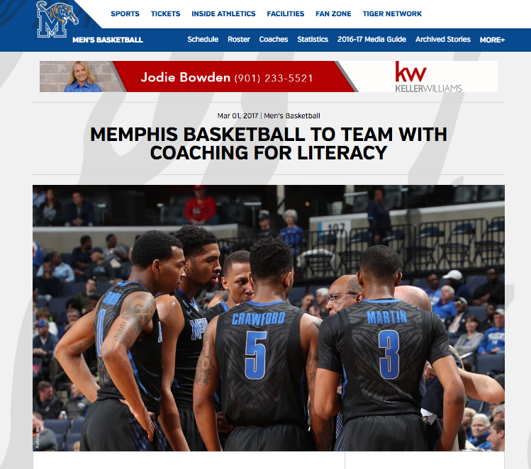 """<p>Memphis Basketball<a href=""""http://www.gotigersgo.com/news/2017/3/1/mens-basketball-memphis-basketball-to-team-with-coaching-for-literacy.aspx/""""<target""""_blank"""">☞</a></p>"""