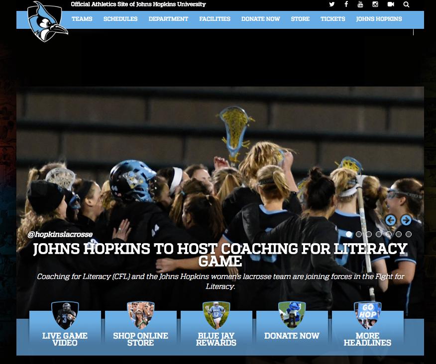 """<p>Johns Hopkins Lacrosse (W)<a href=""""http://www.hopkinssports.com/sports/w-lacros/spec-rel/040617aaa.html""""<target""""_blank"""">☞</a></p>"""