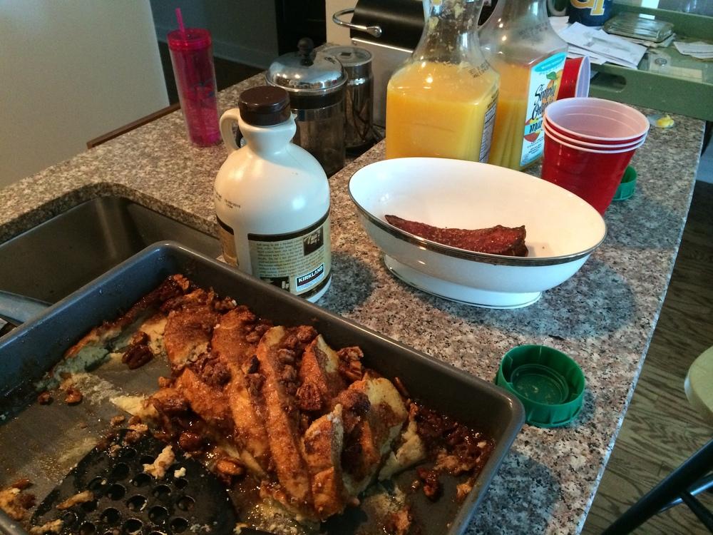 Orange Pecan French Toast, Orange Juice, Spiced Turkey Bacon, and Maple Syrup