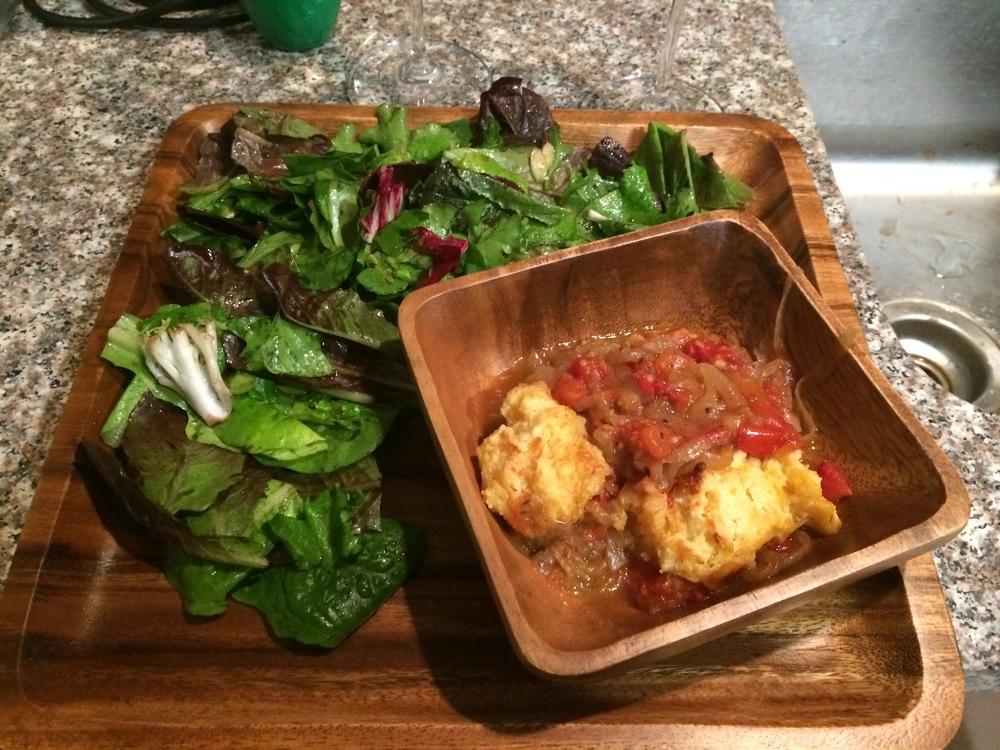 Side salad had scallions, basil, and a lemon vinaigrette dressing of lemon juice, olive oil, honey, and apple cider vinegar.