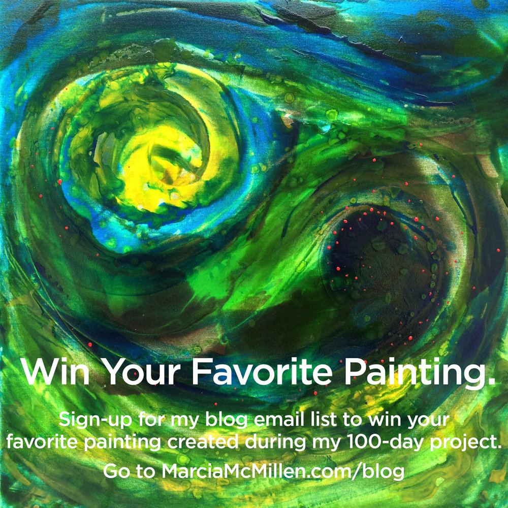 "Sign-up for my blog email-list in the right column, (if you're using your phone go all the way to the bottom of the blog page for the sign-up)   between April 4th and July 12th, 2017 to be eligible to win.    Please ""Follow"" me on my artist Facebook page Marcia McMillen Artist    *The winner can choose one of the 10 paintings I created over the 100-day project. The winner will be selected by a random drawing from all the email-addresses on the 101st day, July 13th, 2017."