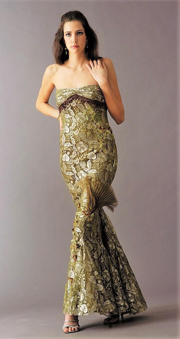 green metallic lace gown.JPG