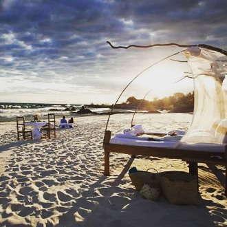 See the first flickering of twilight, the fireflies glitter in the trees and the stars come out, all on luxury beach star beds at Nkwichi Lodge, Malawi. #travelexperts #travelideas #africa #malawi #africatravelexperts #stargazing #stargazingholidays