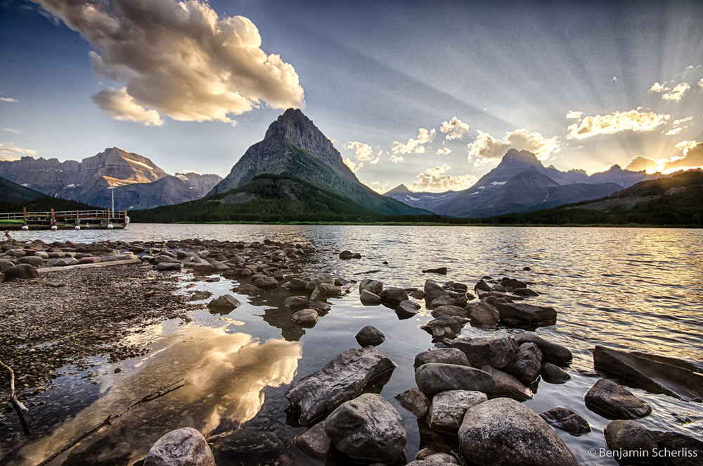 Sunset at Swiftcurrent Lake