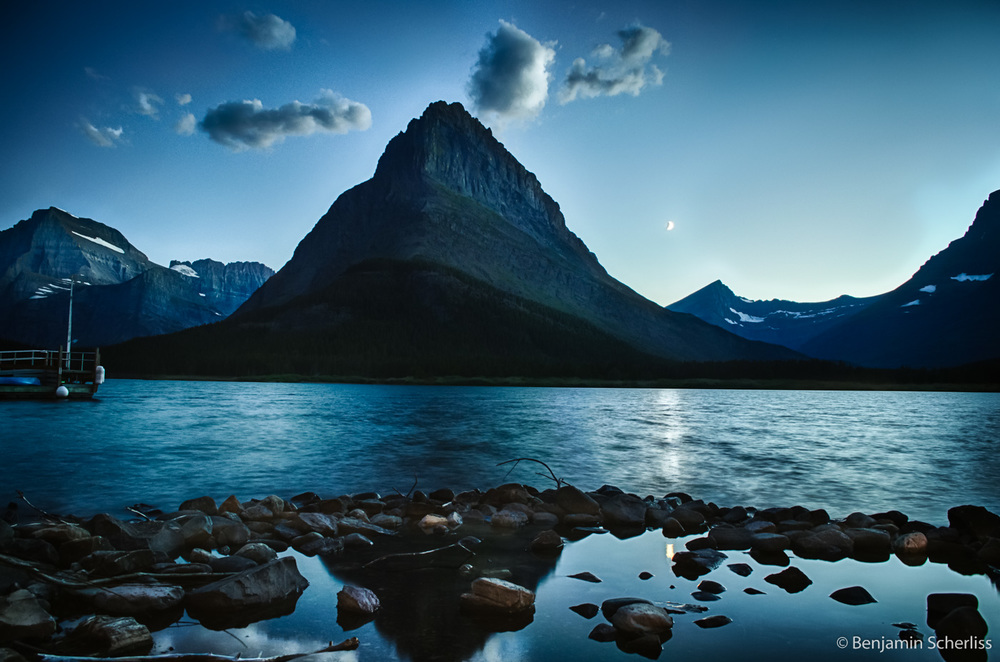 Twilight Moon Over Grinnell Peak