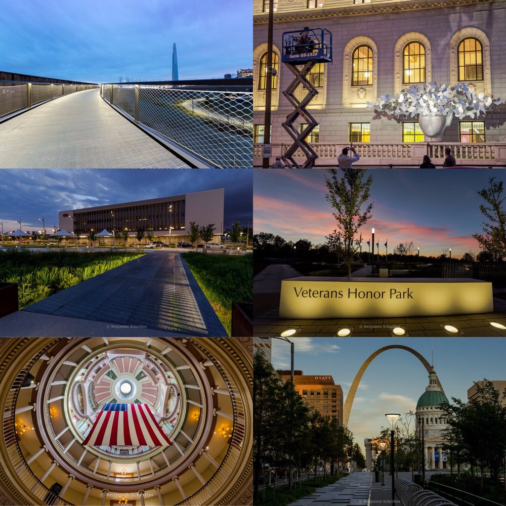 "From Top-Left: ""Butterflies"" Installation at STL Public Library, CityArchRiver Arch Grounds lighting design , Gateway Arch Park Foundation website imagery, Veteran's Honor Park, Kiener Plaza Lighting Design, Cortex Lighting Design."