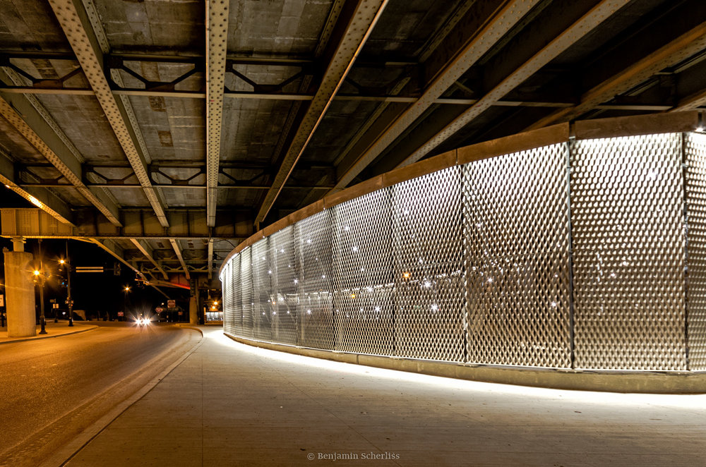 Lantern fixture near the Washington Avenue overpass by Randy Burkett Lighting Design.