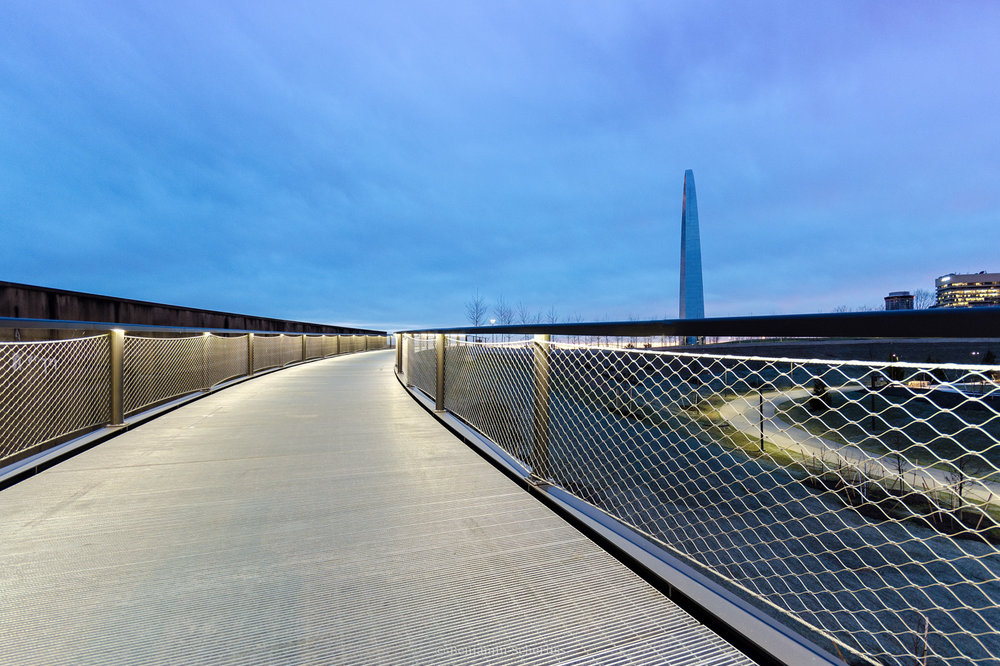 Elevated walkways on the Gateway Arch grounds by Randy Burkett Lighting Design.
