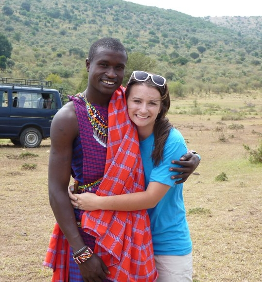 Kinsey (right) and her friend, Jonathan, in Kenya.