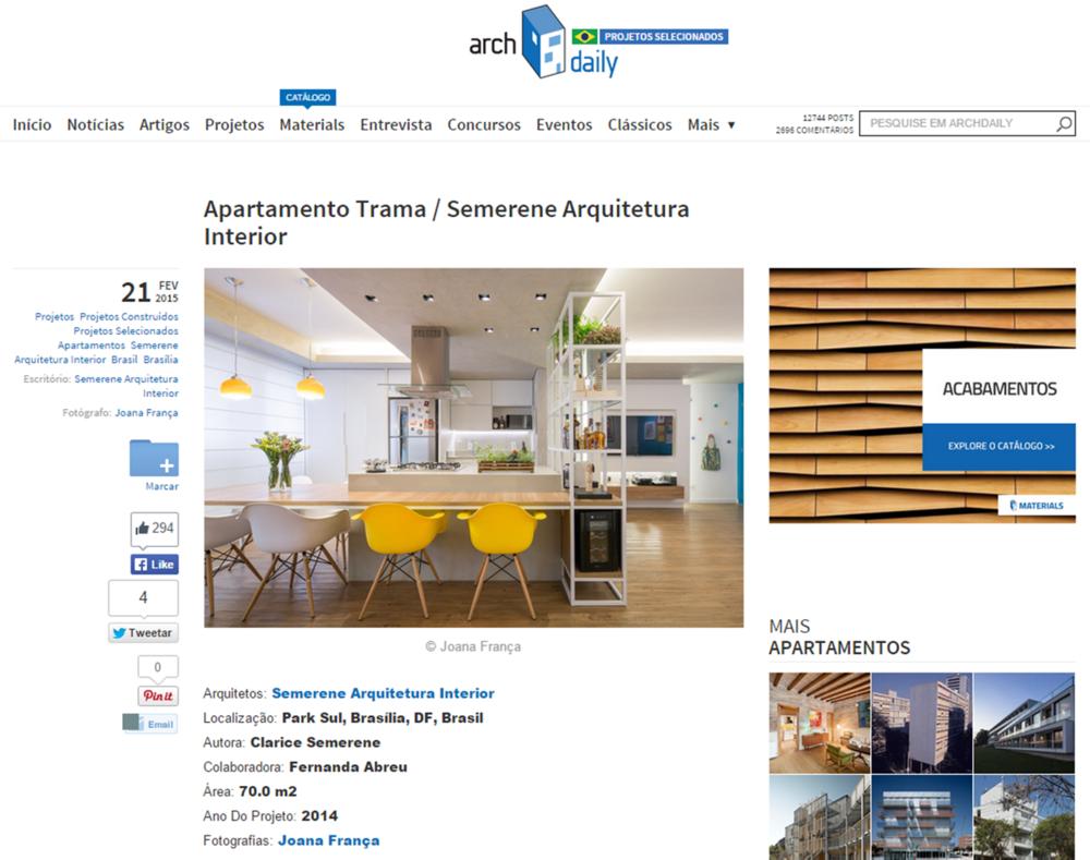 Apartamento trama no archdaily brasil semerene arquitetura
