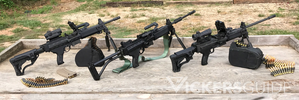 Pictured (Left to Right): IWI Negev 5.56mm NG5 SF Model; Older IMI Negev 5.56mm MG; IWI Negev 7.62 NATO NG7