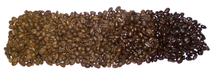 fresh coffee roast spectrum, coffee roast range