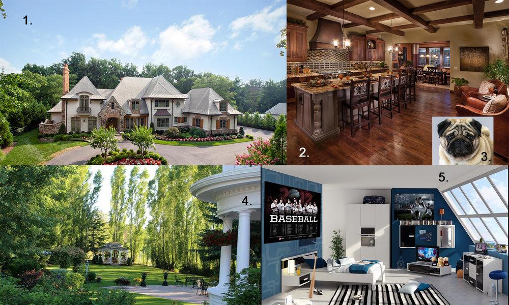 1. Calvin's house. 2. & 3. Calvin's kitchen where he spends most of his time with his loving pug, Muffe. 4. Calvin's backyard where he plays with Muffe in the end of the film. 5. Calvin's luxurious room with a lot of signed baseballs and posters.