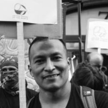 PERCY  IS ORIGINALLY FROM PERU, AND MOVED TO LONDON IN 2007. HE WORKS AS A CLEANER AT KING'S COLLEGE, AND IN HIS PREVIOUS WORKPLACE, HE SUCCESSFULLY CAMPAIGNED FOR THE LIVING WAGE, SICK PAY, DIGNITY AND RESPECT. PERCY'S COURAGE HAS INSPIRED MANY OTHER WORKERS TO STEP UP FROM COMPLAINING TO CAMPAIGNING.