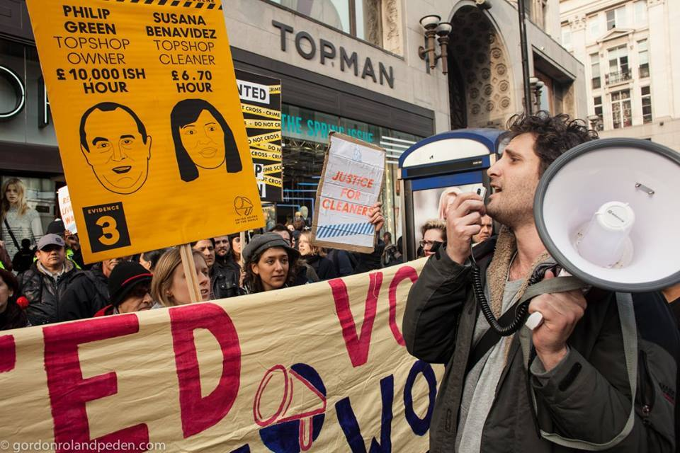 The campaign - Cleaners at the Topshop/Topman emporium worked for Britannia Services Group — a typical minimum wage, maximim profit outfit.  Susana was called
