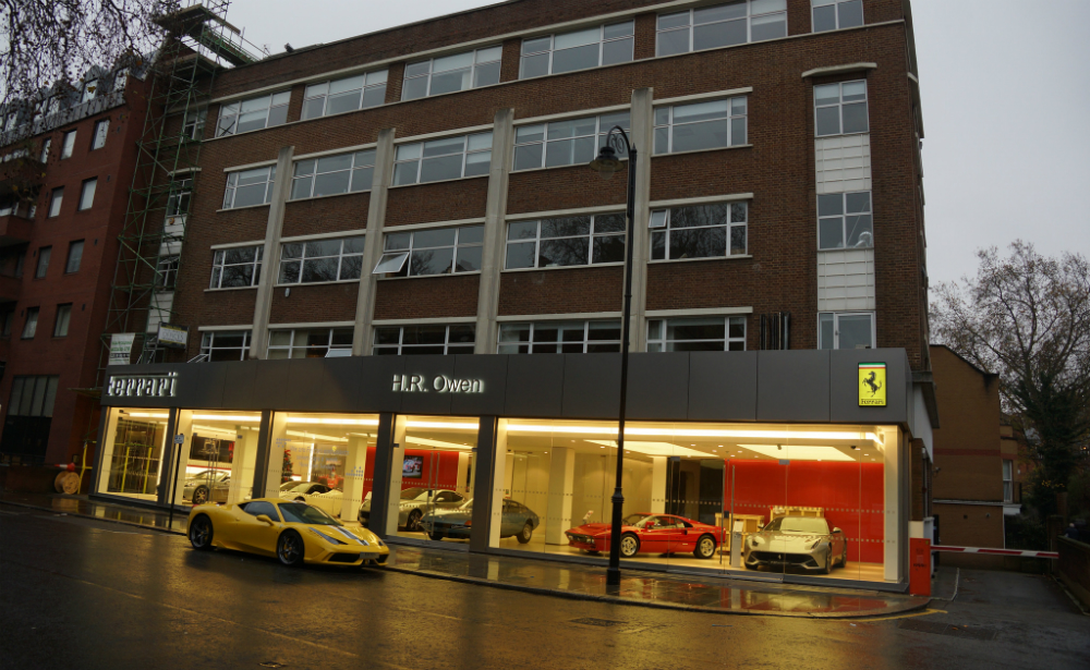 THE crime scene - H.R. Owen is an official dealer of Ferrari, Bugatti, Lamborghini, Maserati, Rolls-Royce, Bentley and Aston Martin with £400m of annual turnover.  Their top showrooms are in South Kensington, a short walk from Harrods.  New Ferraris sell for over £200k, while the Formula One-inspired