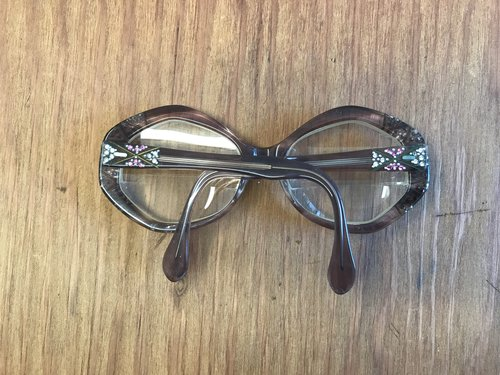 96b7d56322 Fun French Round Gray Frame with Rhinestones-258